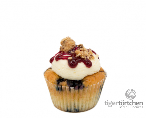 Blaubeeren-Vanille Cupcake & Frischkäsecreme Topping mit Keks Berlin Cupcakes