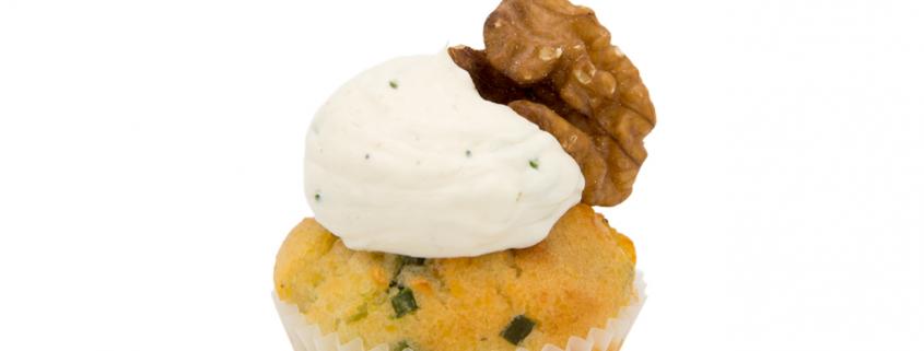 Herzhafter Nussiger Gemüse Cupcake & Kräuter Creme