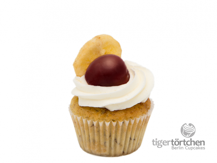 Bananen Cupcake & Kirsche mit Vanille Creme vegan - Berlin Cupcakes