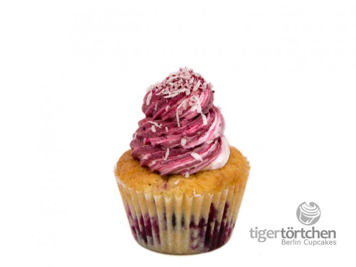 Kokos-Johannisbeere Cupcake & Cassis Creme - Berlin Cupcakes