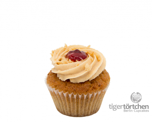 Erdnuss Cupcake & Erdnuss Creme mit Gelee vegan