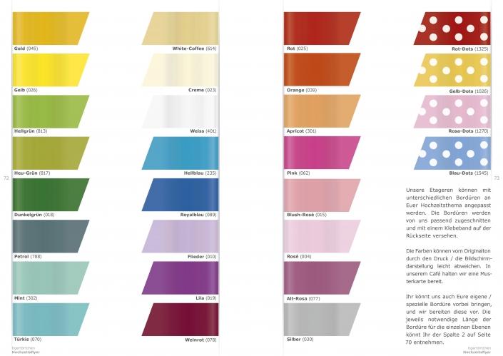 Hochzeitsetagere Auswahl Farben Bordüre