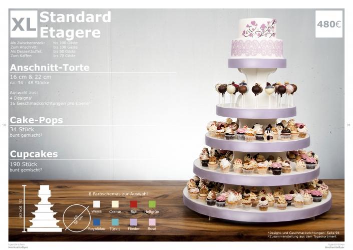 Hochzeitstorte Größe XL Anschnitt Torte, Cupcakes, Cake-Pops