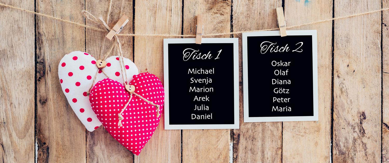 Namensliste Tischplan Hochzeiten Platzkarten tigertörtchen